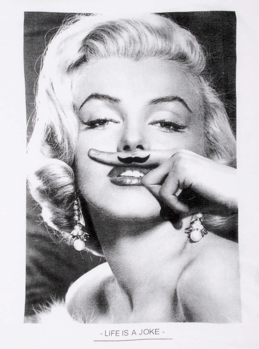 Marilyn Monroe Moustache t shirt design by sixwhitingstreet design Marilyn Monroe Moustache t shirt design by sixwhitingstreet