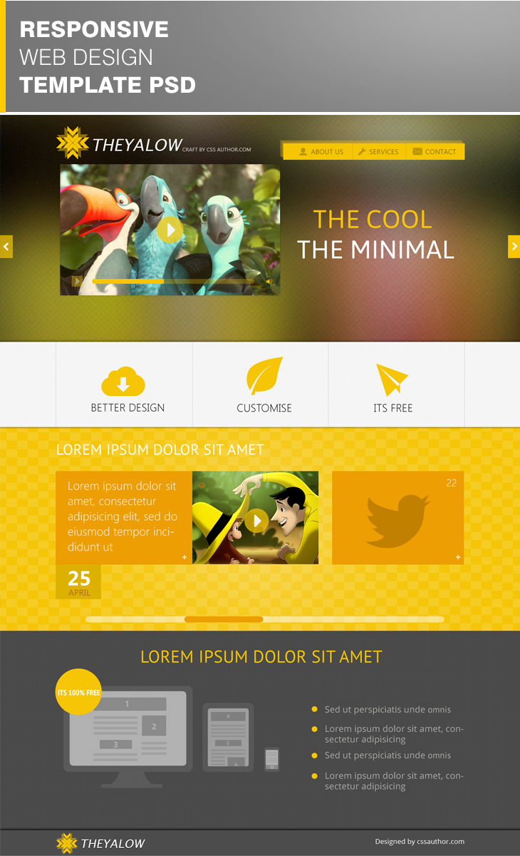 Theyalow Website Template A Responsive Web 20 Beautiful Design Psd For Free