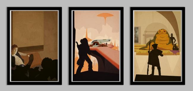 swnewtrio2 650x306 Star Wars Han Solo Poster Set
