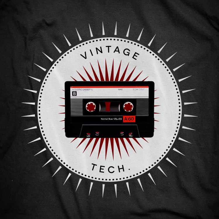 vintage icons 06 audio cassette Audio cassette t shirt. Vintage icons collection