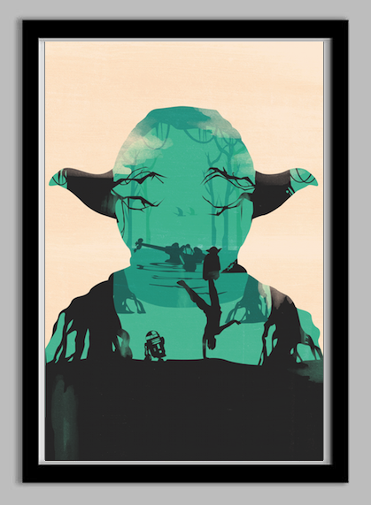 yodaframed Star Wars Yoda Silhouette Poster (Similar to Olly Moss)