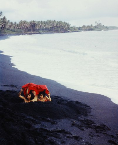 03 Black sand beach made by waves battering volcanic rock on the Big Island Hawaii 1959 Wonderful Color Photographs of Life in Hawaii in 1959