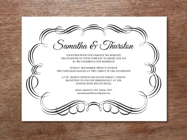 Flourish Einladung en 1000px 650x487 New Black and White Printable Wedding Invitation From e.m.papers Flourish