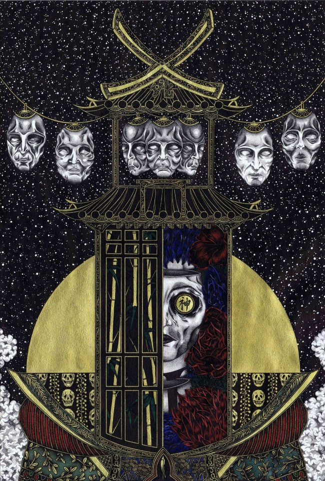 Helen Vine Deified in Death 650x963 Black Ink and Bits of Gold: Cosmic Images by Helen Vine