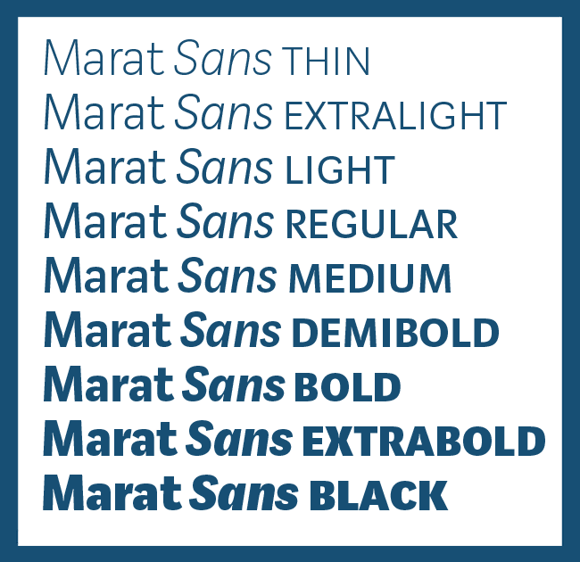 MaratSans2 650px Type family Marat Sans