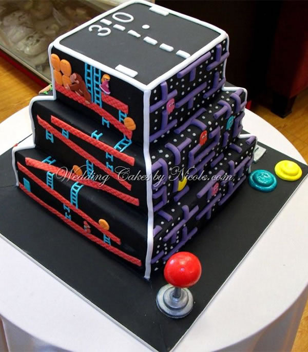 arcade wedding cake Retro Arcade Game Cake