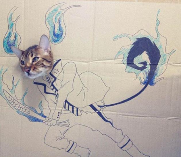 funny cardboard kitty 14 Funny Cardboard Kitty