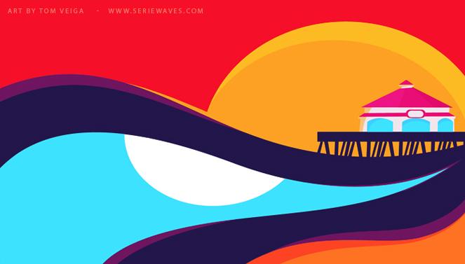 huntington beach1 Killer Curves: Colorful Illustrations by Tom Veiga