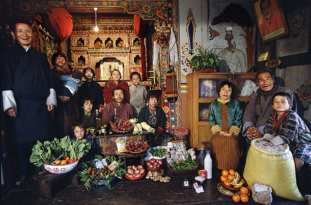 what the world eats by peter menzel bhutan1 Weekly Food Consumption Around the World by Peter Menzel