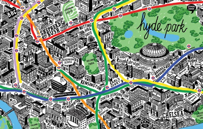 1140 650x413 London hand drawn map by Jenni Sparks