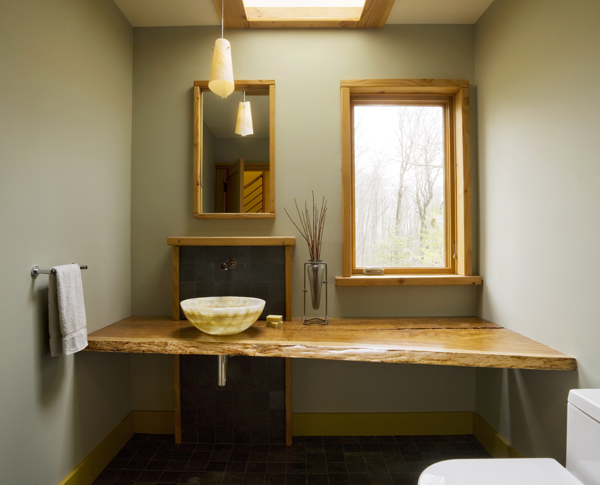 A modern guest bathroom, by Vermont architects Studio III