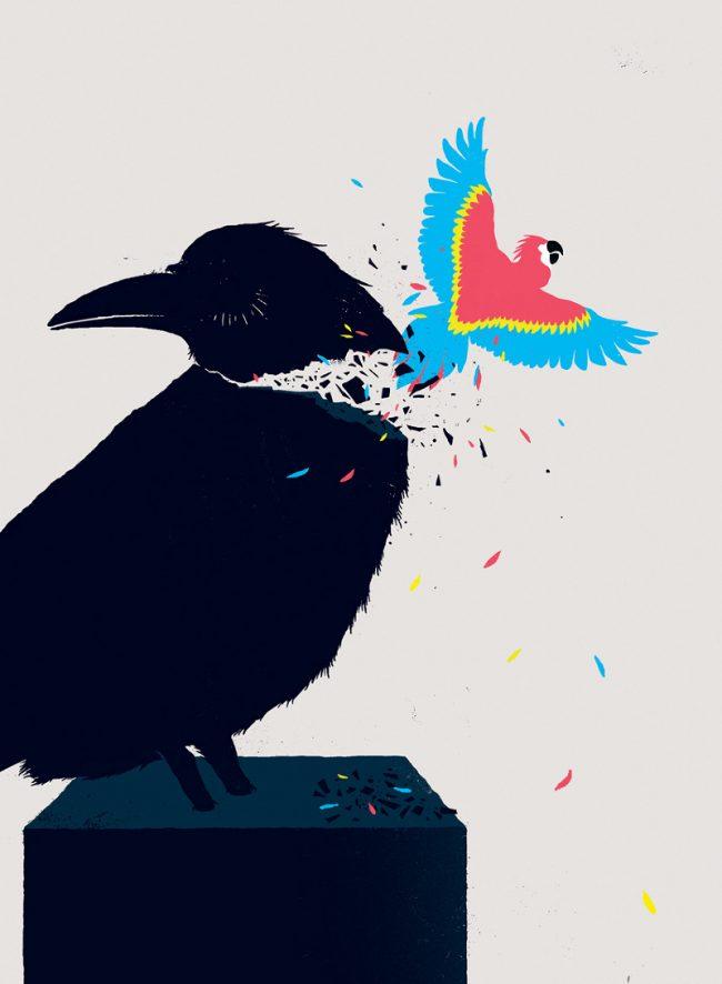 learning charisma1 650x886 Abundant Editorial Illustrations from Sebastien Thibault