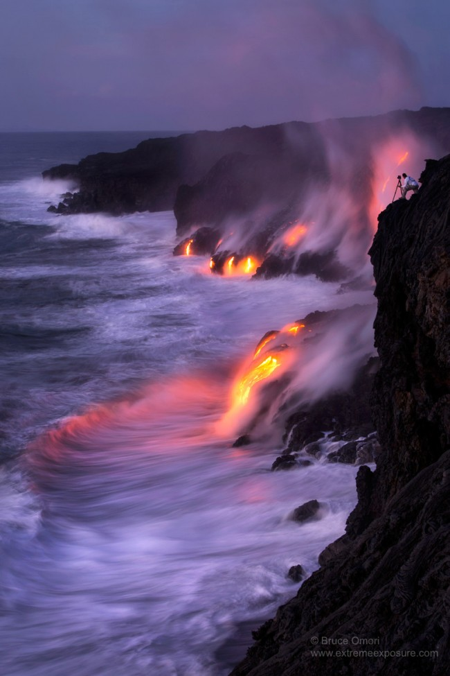 5 4 650x975 Hot Lava Hits Seawater and Forms Black Sand Beach