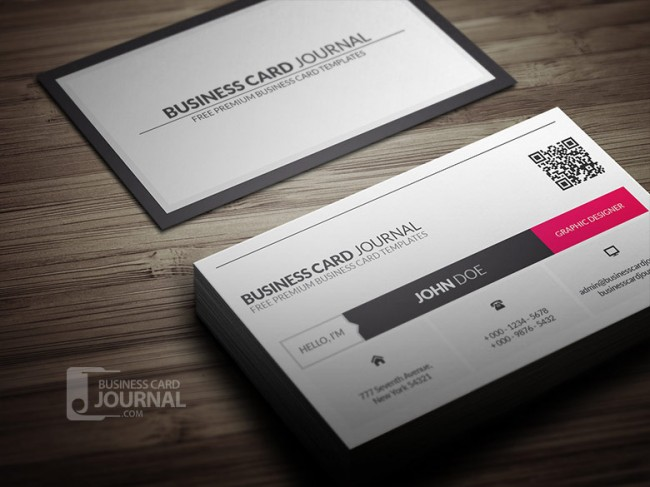 Clean QR Code Metro Business Card Template 00132 650x487 Business Card Journal: Updated Collection of Free Creative Business Card Templates