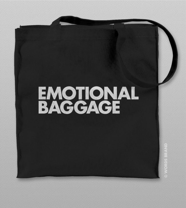 EMOTIONAL BAGGAGE TOTE BAG 650x728 Emotional Baggage Tote Bag by WORDS BRAND™