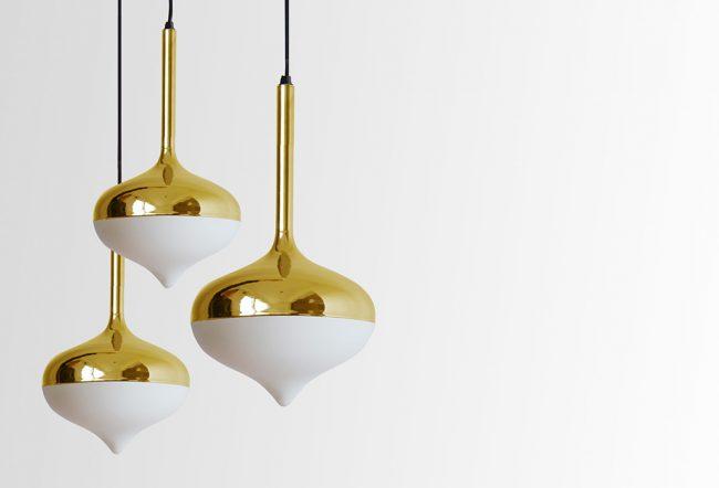 EvieGroup SpunGoldPendants 650x442 Spun Lamp