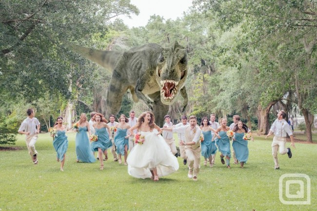 QuinnDinosaurPhoto1 650x433 Hot Trend: Hilarious Wedding Party Attack Photos