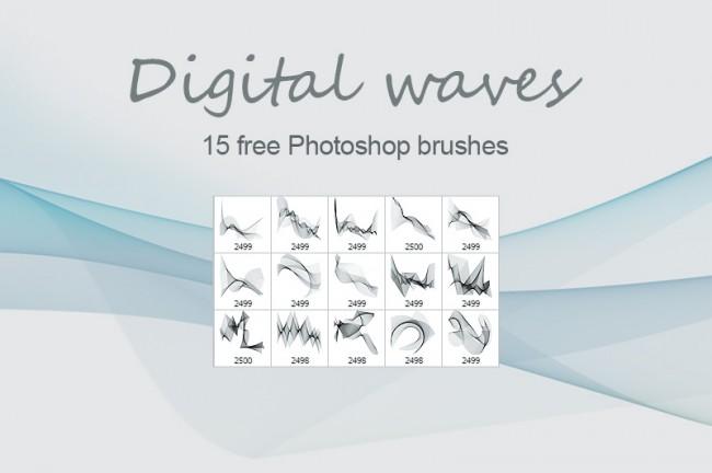 free photoshop brushes digital wave 650x432 Digital waves free PS brushes