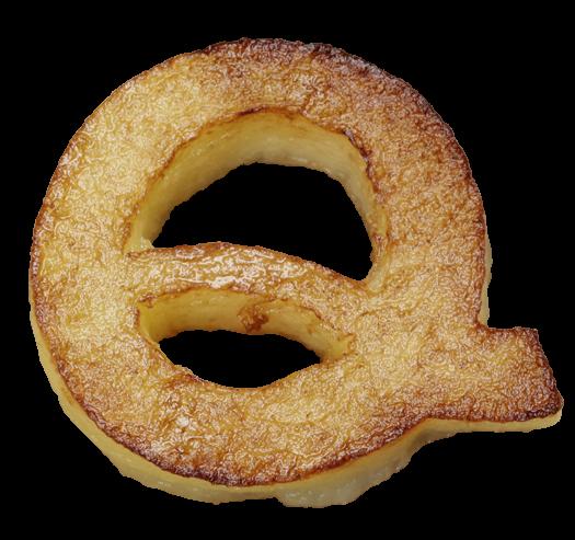 Fried potatoes font letter Q