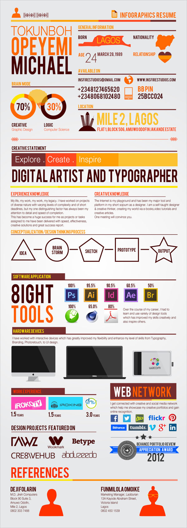 Simple Infographics Resume  Some Really Interesting & Simple Resume Examples