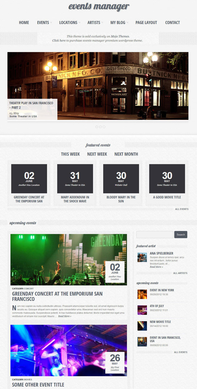 eventful event wordpress theme 10+ Event WordPress Themes