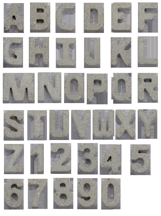 gray concrete font alphabet Concrete font