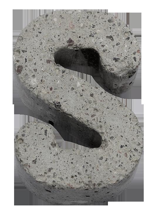 gray concrete font letter S Concrete font