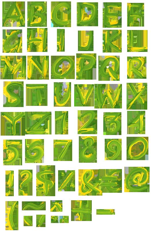 Brazil paint font alphabet Paint font Brazil