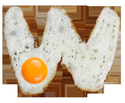 Eggs font letter W