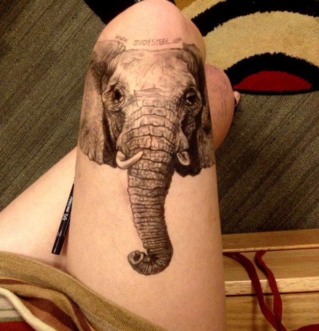 Jody Steel 4 650x675 Artist Creates Amazing Realistic Portraits on Her Thigh