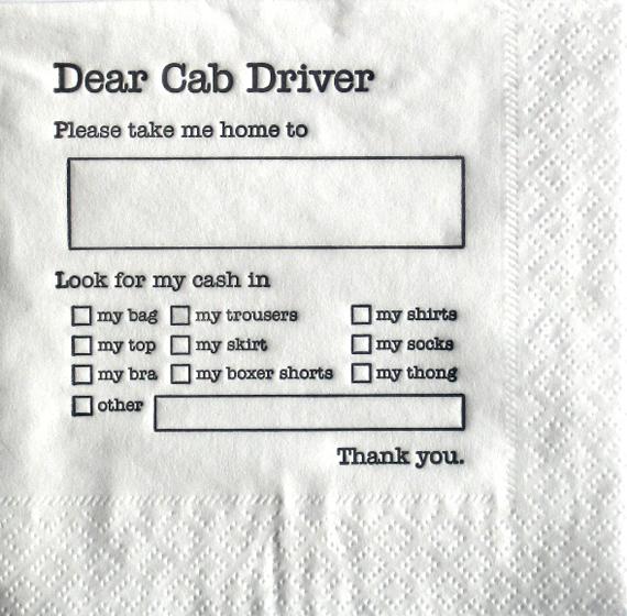 dear cab driver napkin Dear Cab Driver Bar Napkins