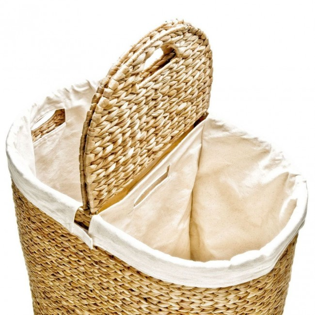 hand woven hyacinth double hamper 03 650x650 Hand Woven Hyacinth Double Hamper
