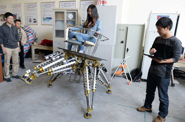Octopus robot 3 Iron Man robot for rescue missions is rideable by a full grown human