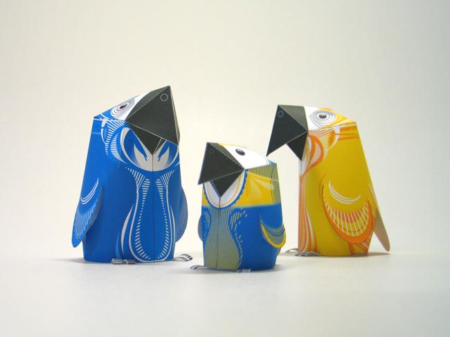 ParrotGroup02 650px1 Paper Parrots, by 3EyedBear