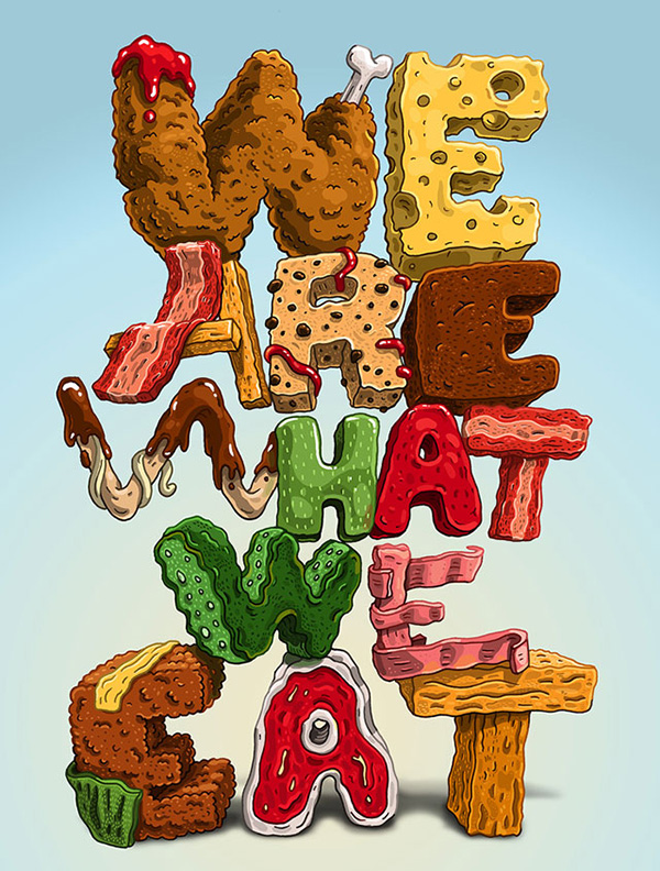 food lettering 1 Food Typography by Jorge Tabanera