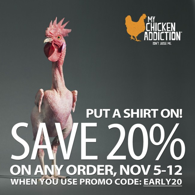 FACEBOOK 20 AD2 650x650 My Chicken Addiction T shirts