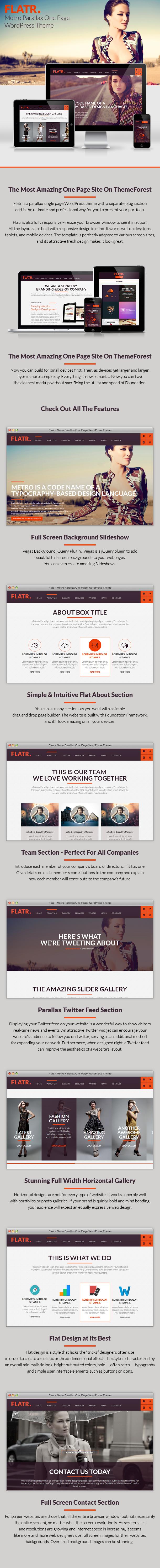 Flatr - Metro Parallax OnePage WordPress Theme
