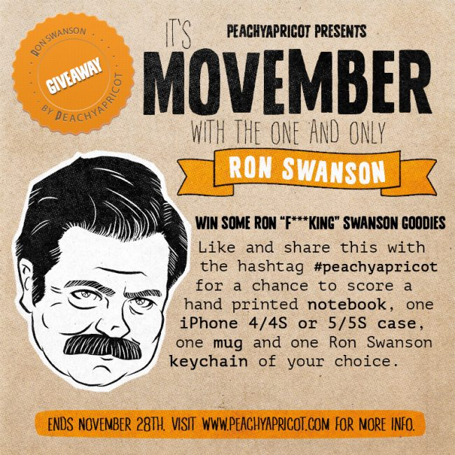 Ron Swanson FB giveaway 650x650 Ron Swanson Movember Giveaway!