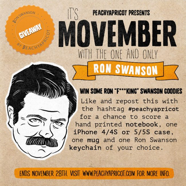 Ron Swanson instagram giveaway 650x650 Reminder: Ron Swanson Movember Giveaway!