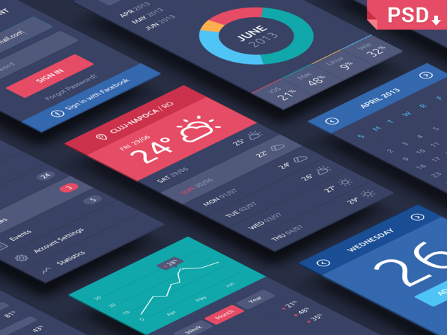 dribbble 650x487 Free PSD Perspective App Mockups