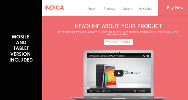 indica display 650x347 Indica – Responsive Landing Page Muse Template