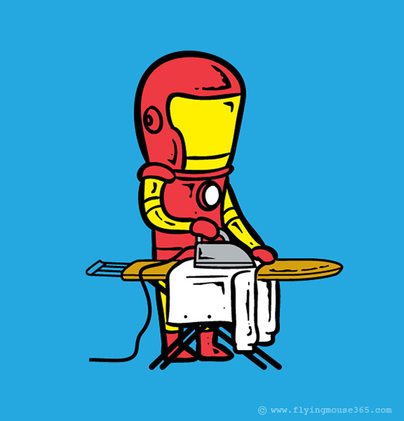 iron man Funny poster Superheroes at their Spare Time | Fun Illustrations by Chow Hon Lam