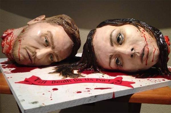 life size head cake1 Couple Create Life Size Severed Heads Wedding Cake