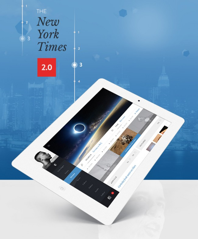 nyt app concept 650x785 THE NEW YORK TIMES 2.0 an Ipad App by Steve Fraschini
