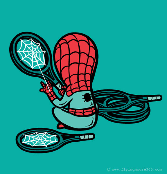 spiderman funny poster Superheroes at their Spare Time | Fun Illustrations by Chow Hon Lam