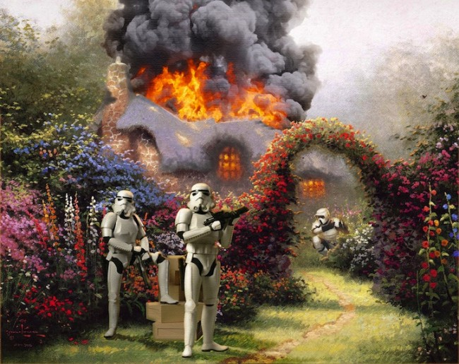 thomas kinkade 01 650x515 Star Wars Characters Invade Thomas Kinkade Paintings