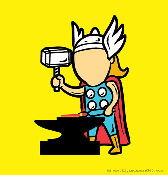 thor funny poster Superheroes at their Spare Time | Fun Illustrations by Chow Hon Lam