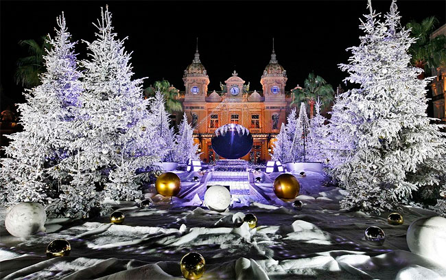 christmas trees are decorated in front of the monte carlo casino in monaco photo by lionel cironneauassociated press