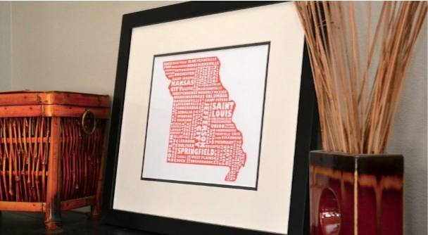 MapMyState Typography Map Art