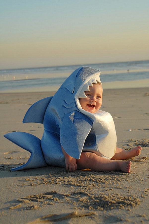 Shark costume baby on the beach1 Daily Most Cool Things #4